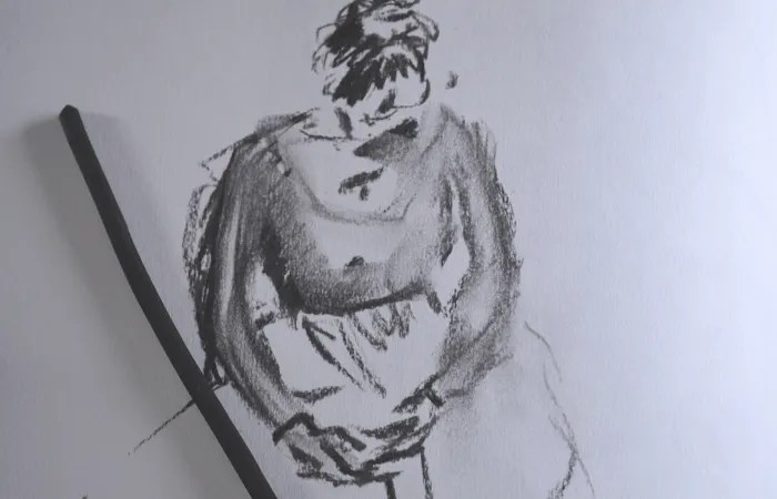 Willow life drawing of women sitting from class at St Ives School of Painting