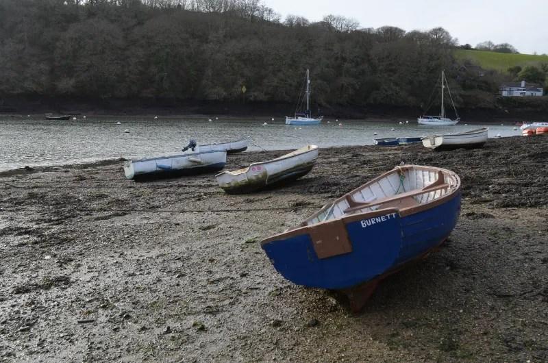 A blue fishing boat at Percuil