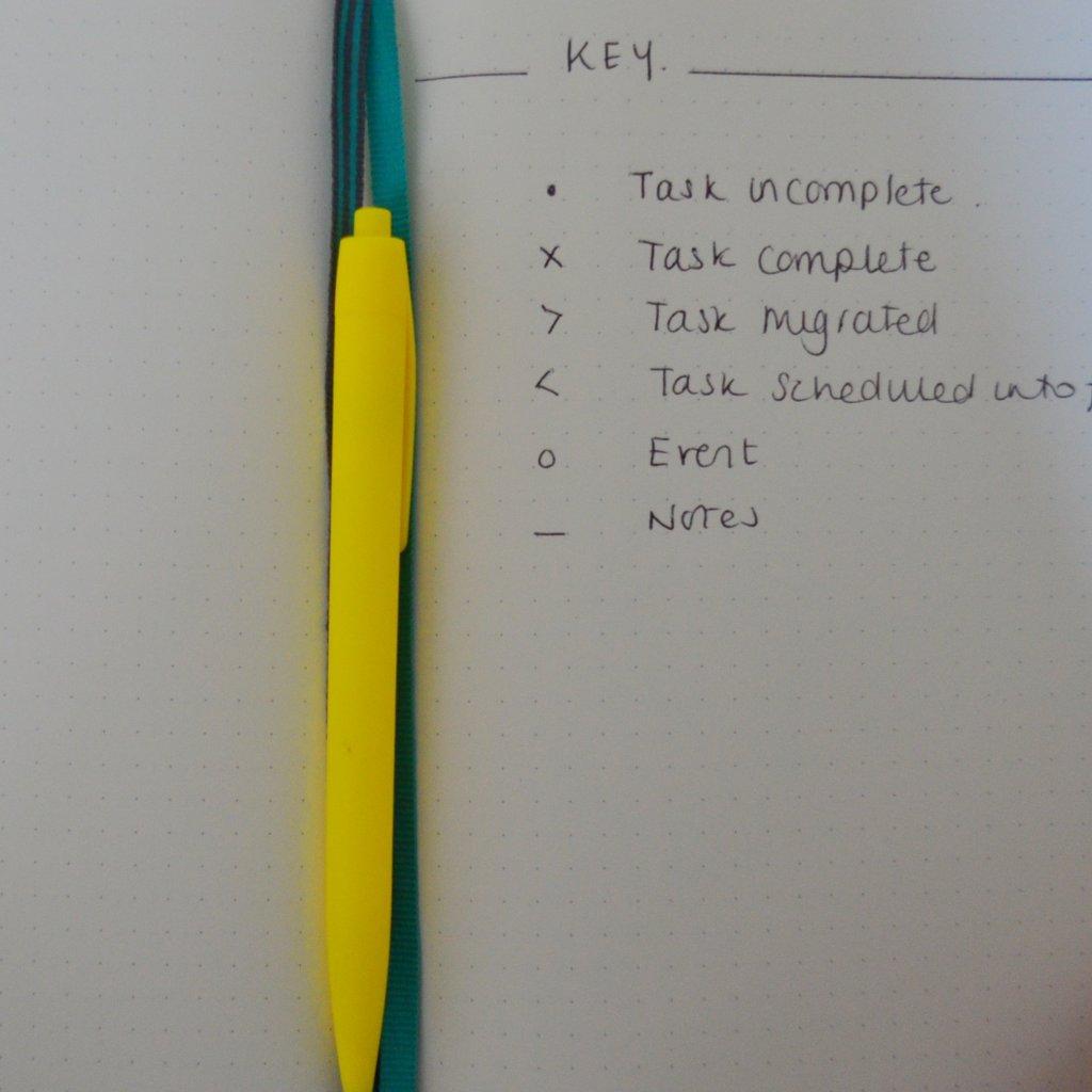Open MInimal Bullet Journal Key for tasks and notes