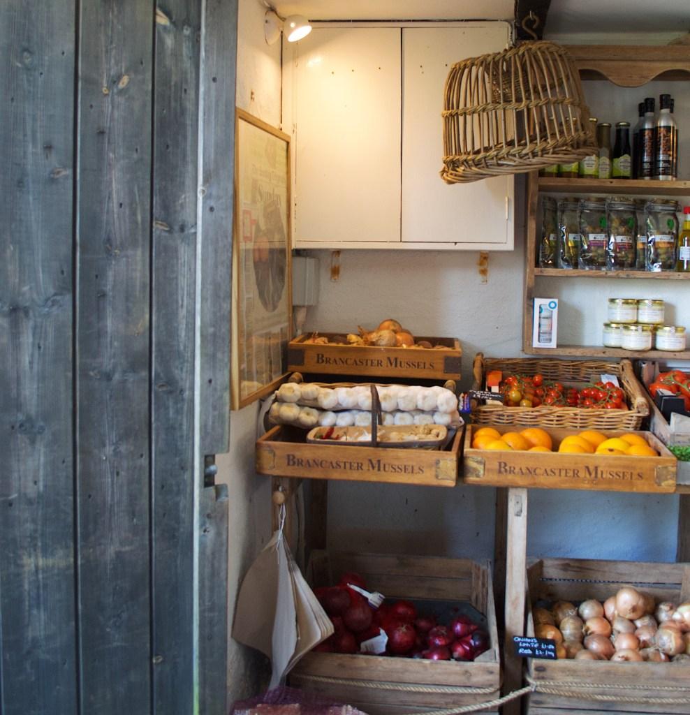 Fresh veg on show in a farm shop