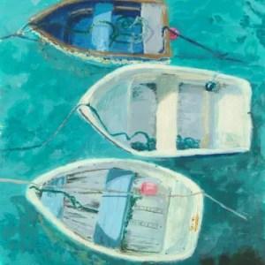 Acrylic painting of three fishing boats