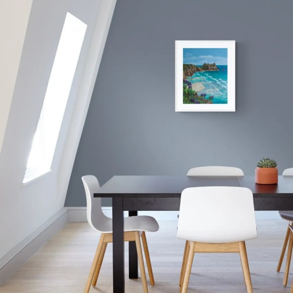 Limited edition print of Pedn Paradise on a wall in a dining room