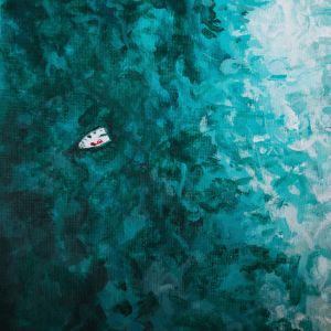 an acrylic painting of the sea from above with a small white boat
