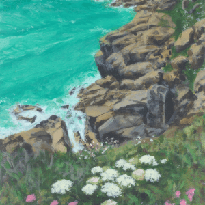 Part of an acrylic painting of the yellow cliffs and rocks near Porthcurno and turquoise sea