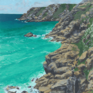 Part of a painting looking toward Porthcurno from Treen Cliffs showing turquoise sea and yellow rocks