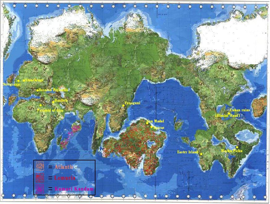 Así como con la Atlantis en el Océano Atlántico y con Kumari Kandam en el Océano Índico, había mucha más tierra por encima de las aguas que la que hay hoy día, porque el Polo Sur estaba ubicado arriba del océanoy no por encima de la tierra, como ha ocurrido desde el giro del eje de la Tierra. Después de que mucho hielo polar se derritiera y los desastres golpearan a ambos continents, solo las partes mas altas están aún ubicadas por encima del nivel del agua. De Atlantis están las actuals Azores y el Care, de Lemuria están las islas como Hawaii y Oceanía