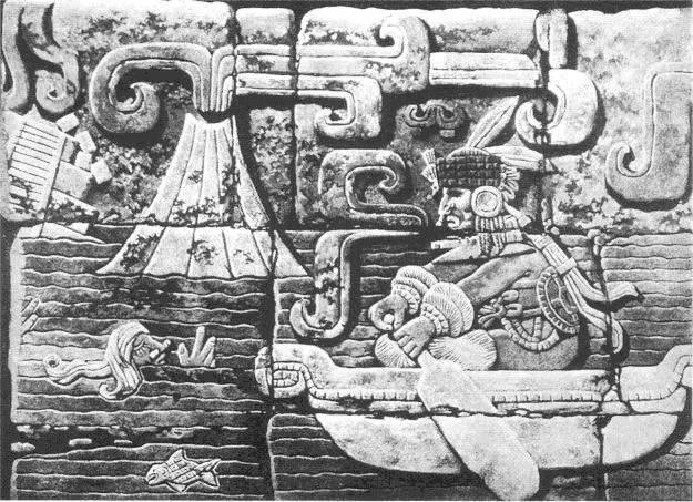 "This work of art was once part of the old Maya city of Tikal, in Guatemala. It probably illustrates the demise of Atlantis. Since this does not fit the prevailing picture, a German archaeologist took it to Germany, where it was ""accidentally"" destroyed in the Second World War"