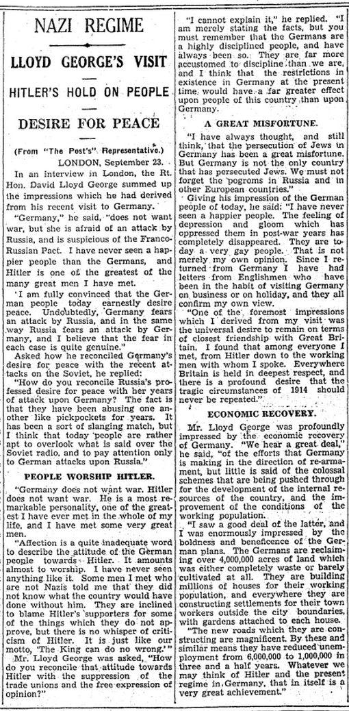 Lloyd George's Impressions Of Adolf Hitler