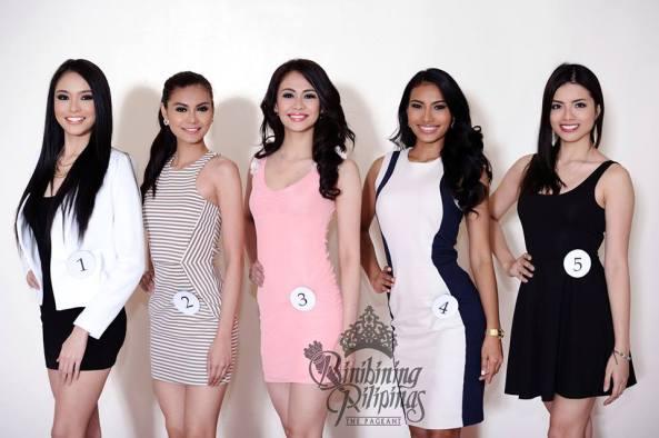 ( L to R: #1 Julian Aurine Flores;  #2 Mary Ainjey P. Manalo; #3 Joanna Angelica M. Romero;  #4 Parul Shah; #5 Hanna Mariz D. Dela Guerra