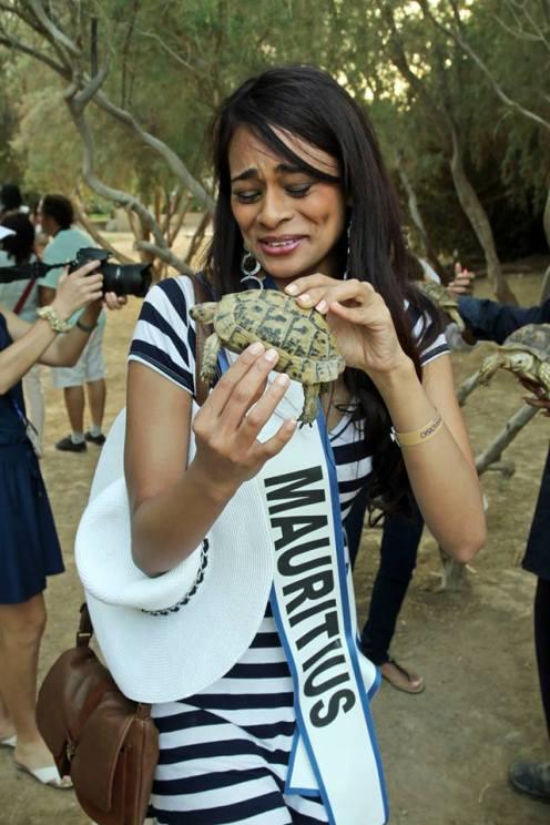 Miss Mauritius holding baby tortoise