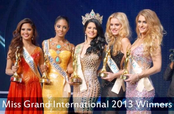 Miss Grand International 2013 winner and runner-ups.