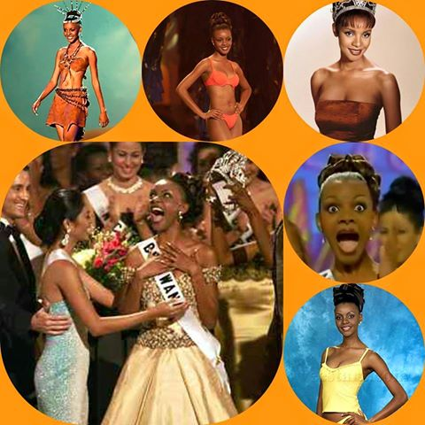 Mpule Kwelagobe, the first and only Miss Universe from Botswana