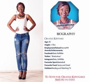 012 Oratile Kefitlhile Miss Botswana 2015 Contestants