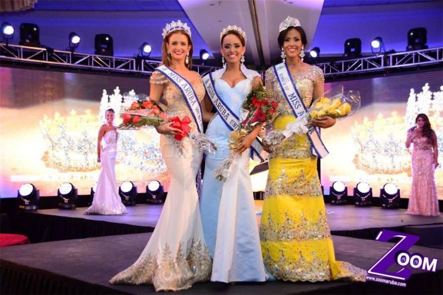Miss Aruba 2015 Winners: Miss Universe Aruba 2015: Alysha Boekhoudt. Miss World Aruba 2015: Nicole van Tellingen. First Runner Up: Thalia Croes.