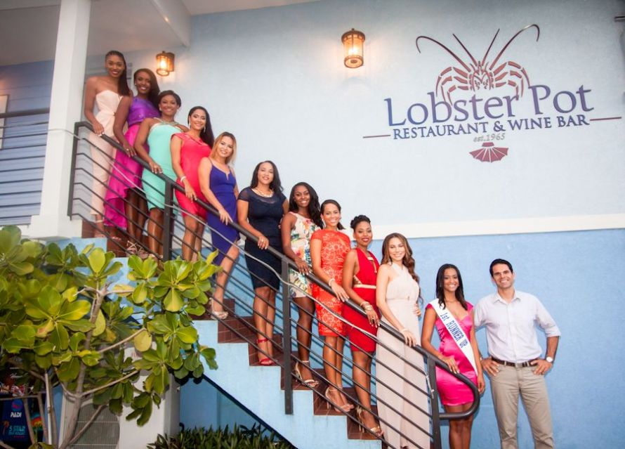 Miss Cayman Island 2015 First Runner Up Adrianna Christian & Jens Pankalla, restaurant manager of Lobster Pot with Miss Cayman Islands 2016 contestants