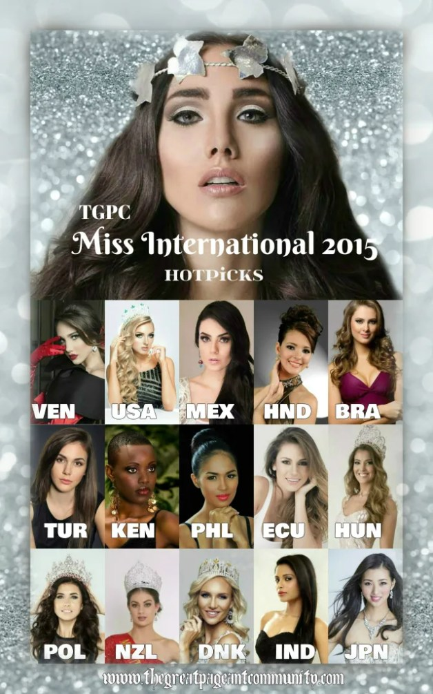 hot favorites for the crown of Miss International 2015