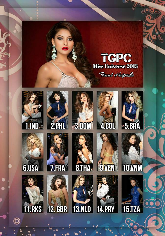 Check out the favorites for Miss Universe 2015 crown in our Miss Universe 2015 hotpicks