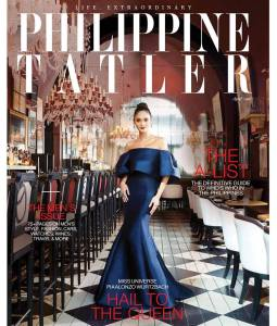 Pia Alonzo Wurtzbach for Philippine Tatler. Pia is wearing a Monique Lhuillier