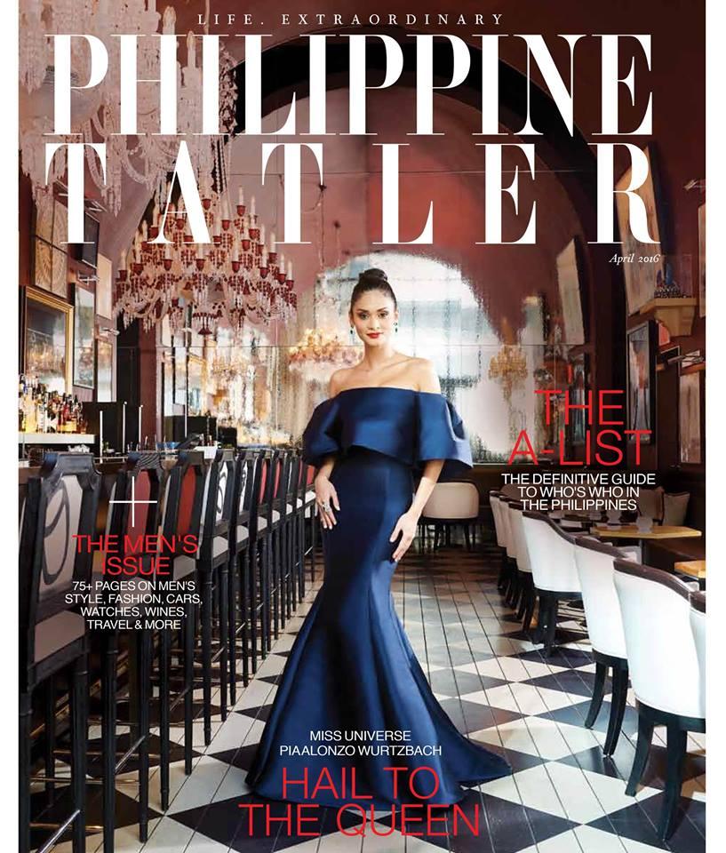 Pia Alonzo Wurtzbach for Philippine Tatler. Pia is wearing a Monique Lhuillier