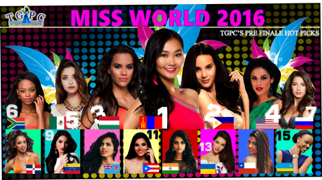 Miss World 2016: 3rd Hotpicks for the crown