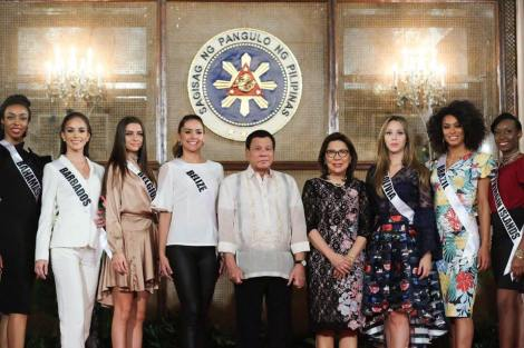 President Rodrigo Duterte with Miss Universe 2016 Contestants