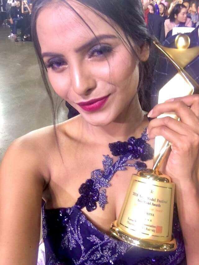 Supriya Aiman, Miss India International 2015, felicitated with Asia Model Star Award at the Asia Model Festival 2018.