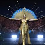 Miss Universe Kazakhstan,Sabina Azimbayeva during the national costume presentation