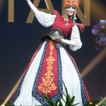 Miss Universe Kyrgyzstan,Begimay Karybekova during the national costume presentation