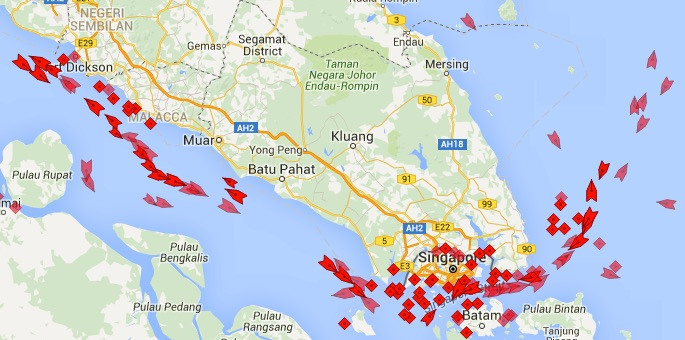 Oil supply glut visualized in oil tanker traffic off Singapore.