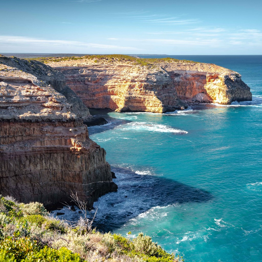 View of the cliffs near Cape Spencer Lighthouse - Innes National Park