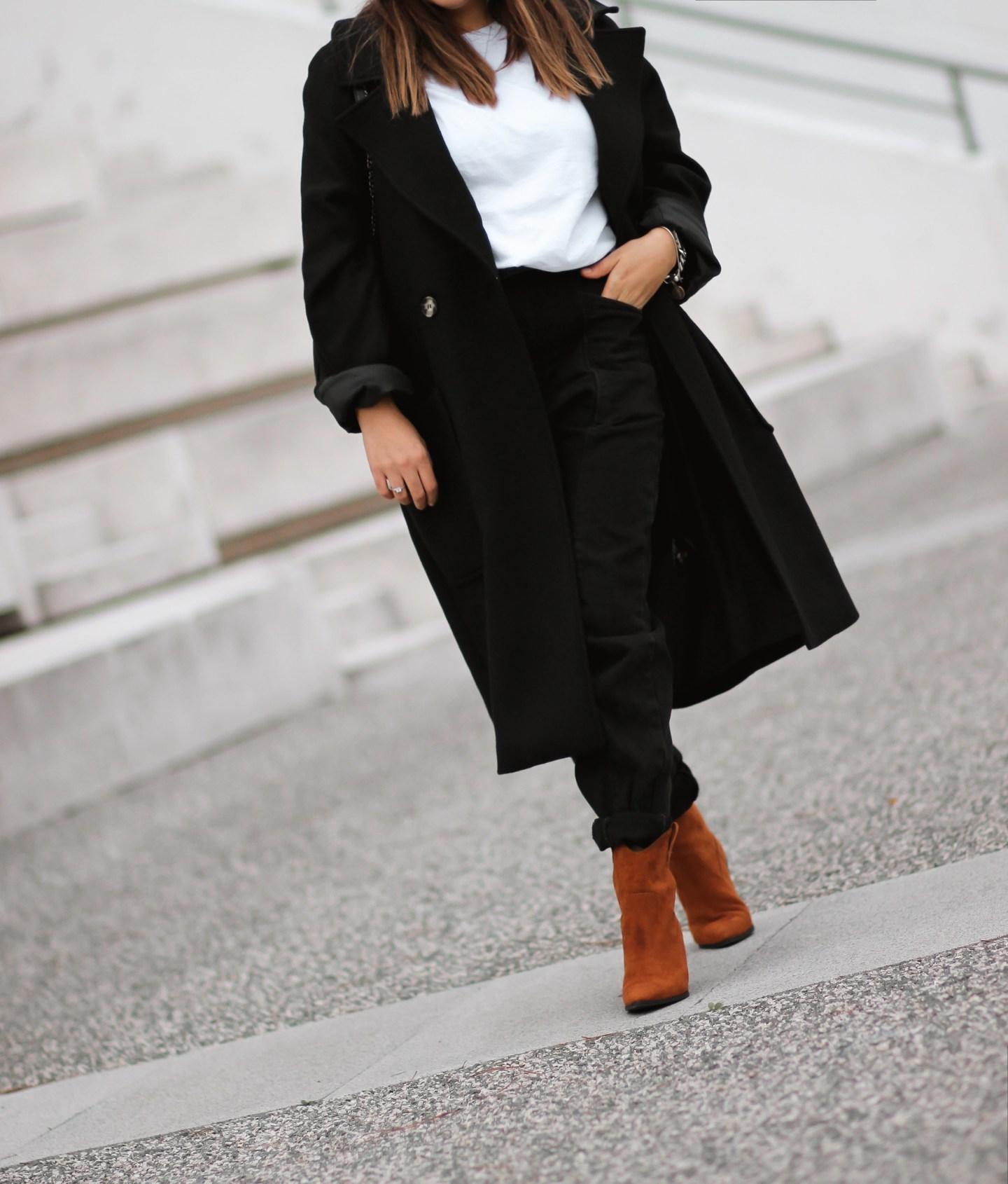MANTEAU NOIR LOOSE + BAGGY +BOTTINES H&M INSPI #ISABELMARANT !