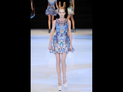 DESIGNED BY ALEXANDER MCQUEEN, PLATO'S ATLANTIS COLLECTION, DRESS, SPRING/SUMMER 2010. Silk plain weave digitally printed, embroidered with enamel plaques. Museum purchase with funds donated by the Fashion Council and Arthur Mason Knapp Fund.