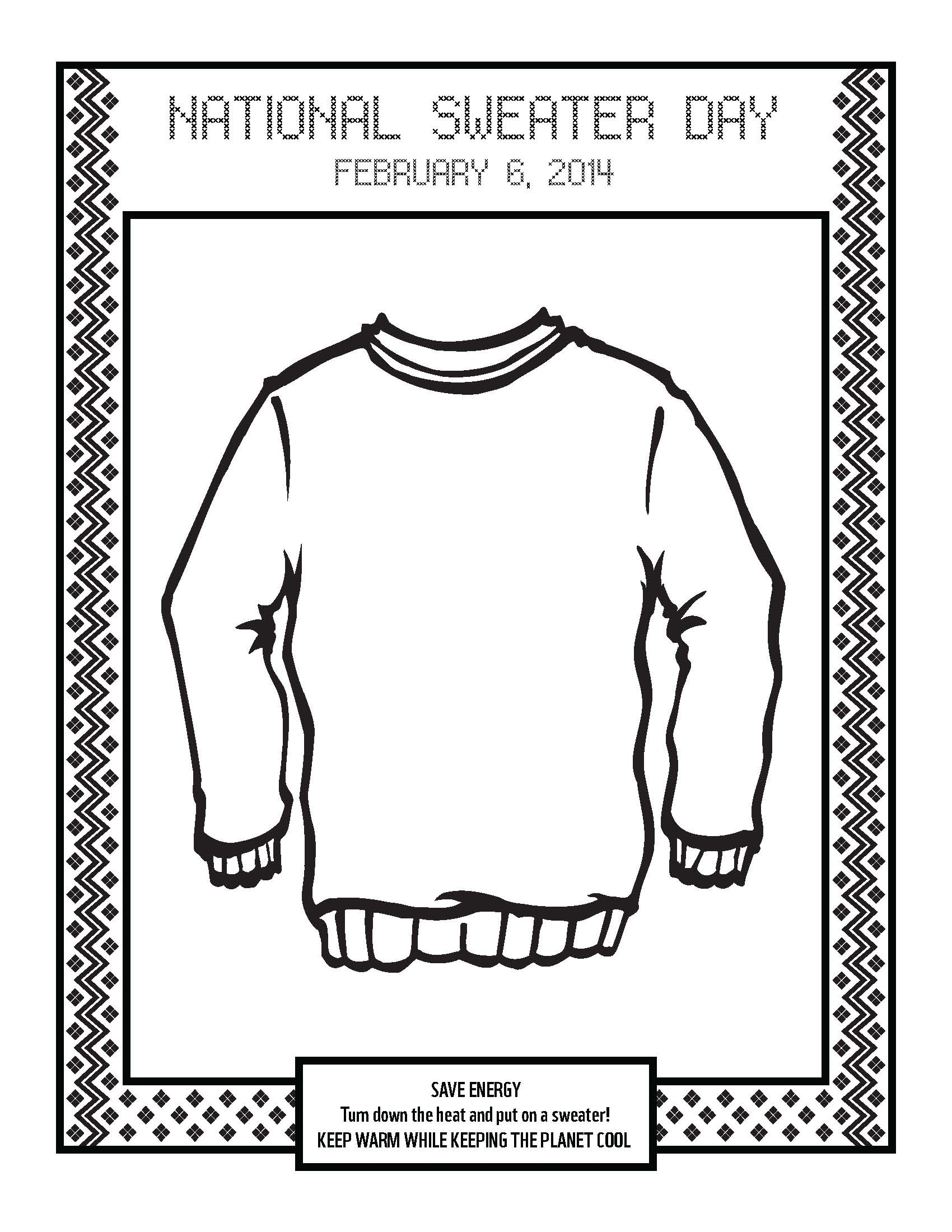 Coloring Page For National Sweater Day