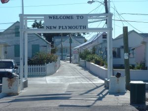 Welcoming gate at New Plymouth, Green Turtle Cay