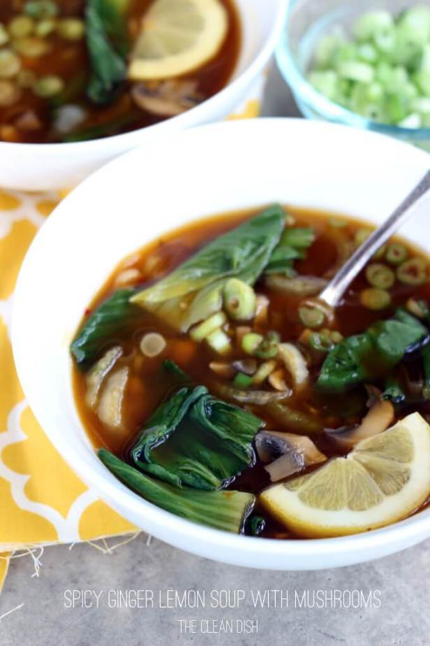 Vegan Spicy Ginger Lemon Soup with Mushrooms