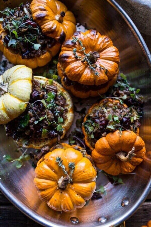 Vegan Stuffed Mini Pumpkins