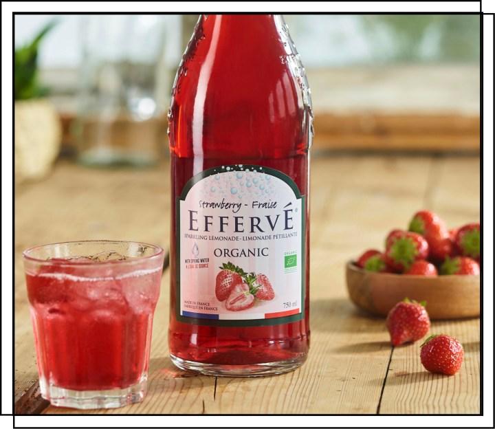 Effervé Økologisk Jordbær sodavand med en dejlig smag af jordbærrenes sødme