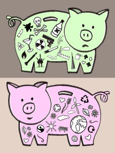 Two piggybanks, one filled with symbols of war, one with symbols of goodness