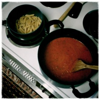 Homemade Vodka Sauce for my penne- yummy!