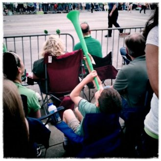 Hilarious kiddo at the St. Patrick's Day Parade. His mom was so embarrassed. lol