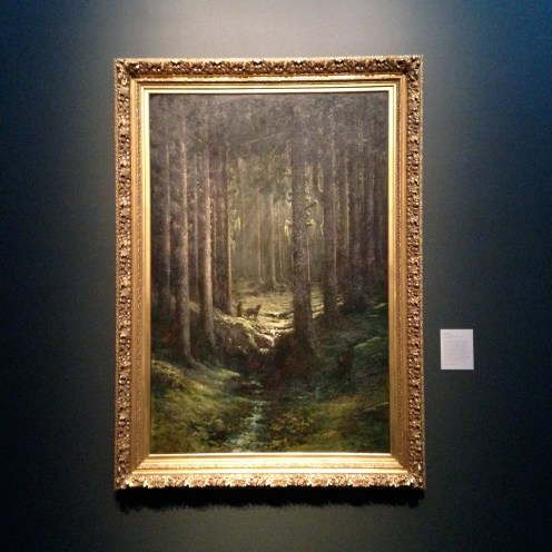 'Deer in a Pine Forest (Vosges)', ca. 1865 by Fustave Dore