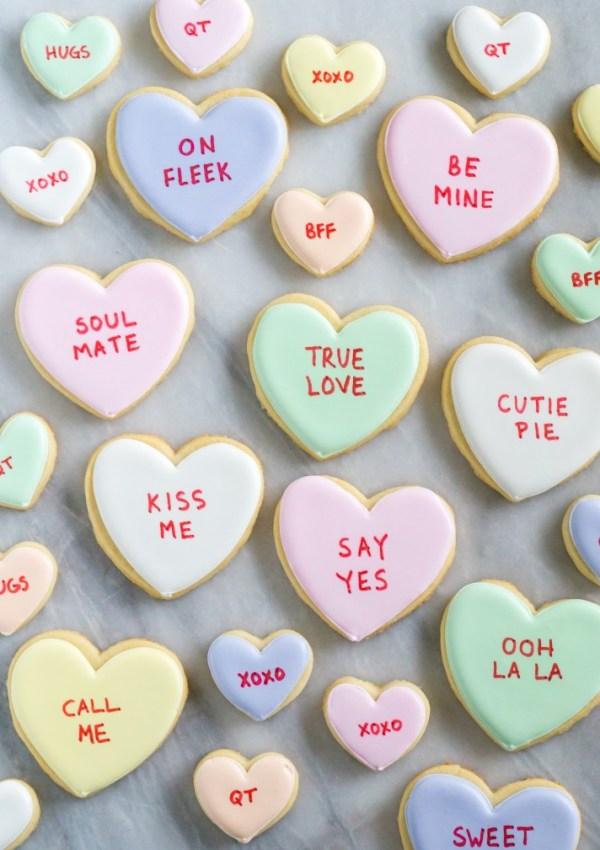 DIY: Conversation heart cookies