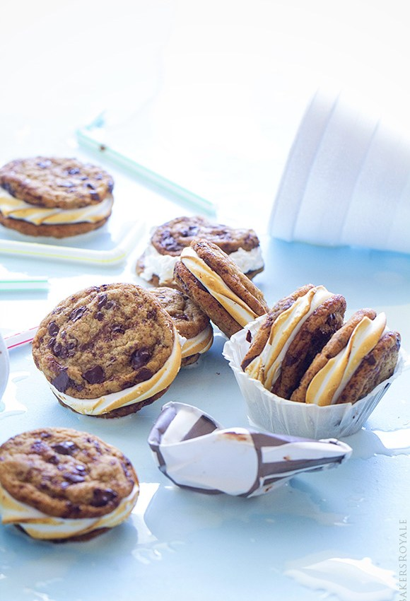 Chocolate Chip Cookie S'mores Sandwiches