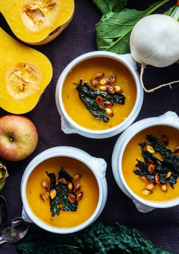 Butternut Squash Soup With Crispy Kale and Chile/-Roasted Seeds