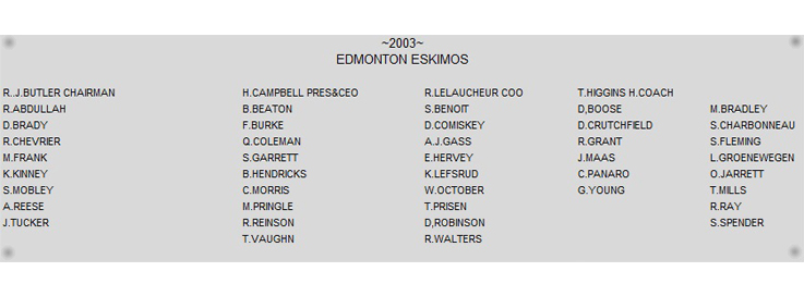 2003 Grey Cup Name Plate