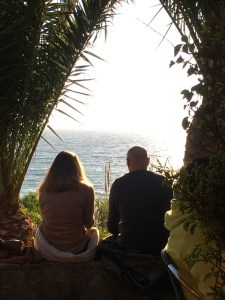It is romantic sitting watching a couple watching a sunset. They took our seats!