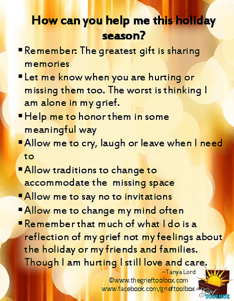 How Can You Help Me This Holiday Season The Grief Toolbox