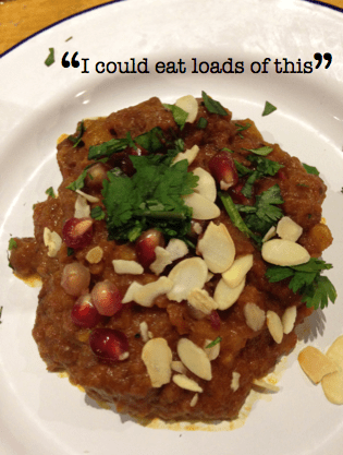 Camel tagine with roasted almonds
