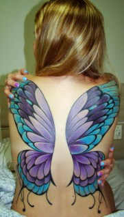 extreme-purple-blue-butterfly-tattoo-on-back-for-girls