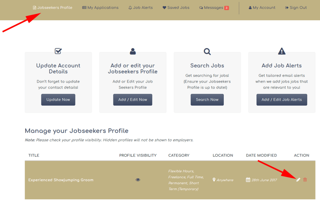 The Grooms List How to Edit Your Jobseekers Profile